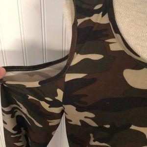 0b006fc2381f5 Hot Kiss Tops - Cold shoulder army shirt